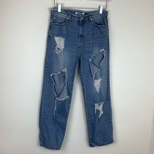 SJYP Farfetch High Rise Ripped Straight Jeans